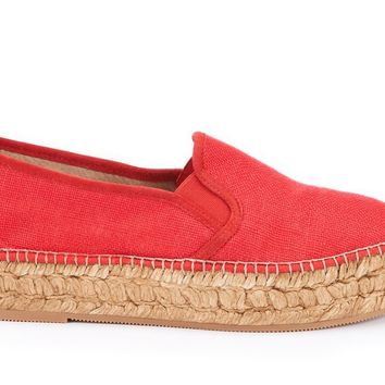Castell Linen Platform Slip-on Espadrilles - Red