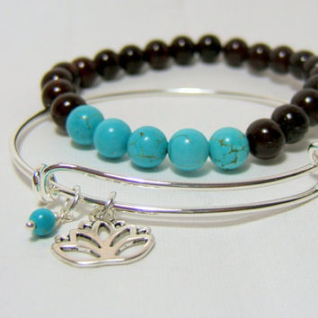 Gemstone & Charm Bracelet set ~ Rosewood Fossil Stone ~ Howlite ~ Adjustable Silver Wire Bangle with Lotus charm ~ Alex and Ani Inspired