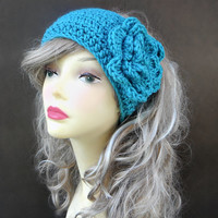 Crochet Ear Warmer In Aqua  Crochet Headband Womens Headband Winter Accessories Crochet Accessories Hair Accessories Womens Accessorie