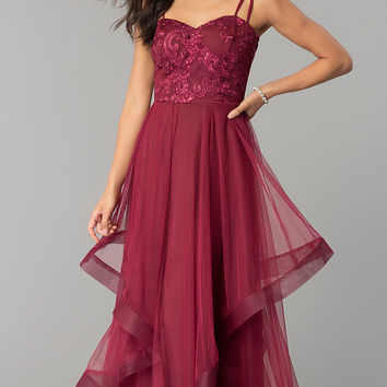 Wine Red Long Prom Dress with Sequined Embroidery