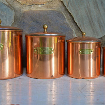 Vintage Canister -  Copper Canister Set - Vintage Copper and Brass Canisters -  Copper Nesting Canisters