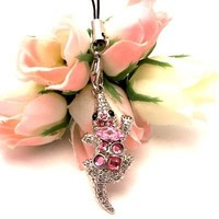 Pink Crocodile Cell Phone Charm Strap Cubic Stone