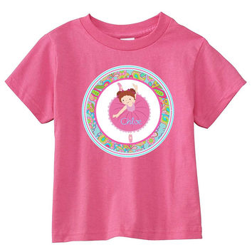 Red Hair Ballerina Paisley Personalized Pink T-Shirt