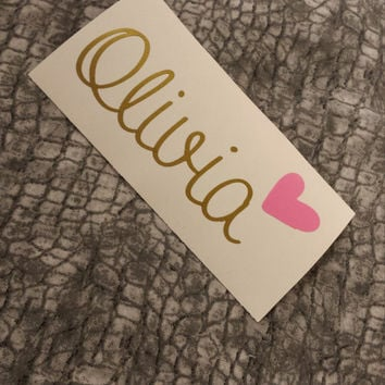 Name Decal | Name decal with heart | Personalized decal | monograms | Fancy Decal | Preppy decal | Customized name decal | laptop sticker