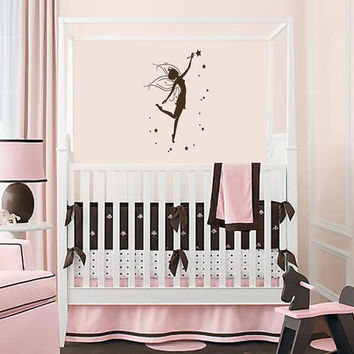 Vinyl Decals Fairy Princess with Stars  Home Wall Art Decor Removable  Sticker Mural L537 Unique Design for Girl Nursery  Room