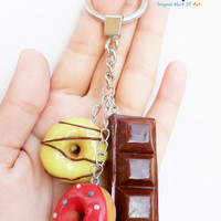 Happiness is chocolate and donuts - Chocolate and donuts miniature key chain - Handmade polymer clay chocolate and colorful donust