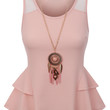 Womens Fitted Sleeveless Peplum Tank Top with Detachable Necklace