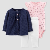 Baby Girls' 3pc Cardigan Set - Just One You® made by carter's Pink/Navy