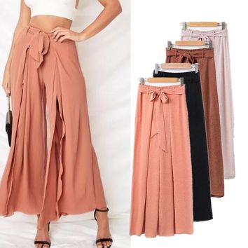 Casual Summer Vacation Bohemia Split High Waist Beach Pants [229435473935]