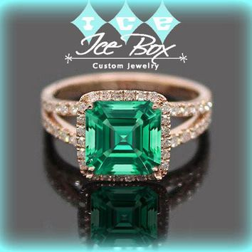 Cultured Emerald  Engagement Ring -  7mm 1.6ct Cultured Asscher Cut Emerald set in a 14k Rose Gold Diamond Halo Setting