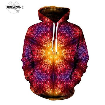 UIDEAZONE 2017 Mandala Hoodie Print Psychedelic Festival Clothing Symetrical Art Sublimation Print Trippy Clothes Plus Size 3XL