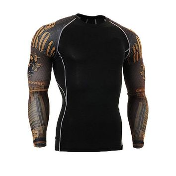 Mens Breathable Elastic Tight Fitting Bodybuilding Sport Quick-Dry Long Sleeve T-Shirt
