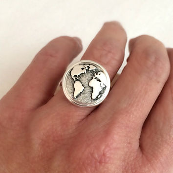 Earth Ring, silver adjustable band globe planet celestial map travel adventure unisex birthday gift gifts