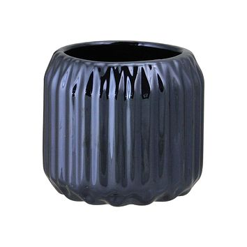 "2.75"" Ridged Metallic Navy Blue Decorative Ceramic Tea Light Candle Holder"