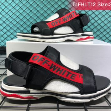 DCCK B031 Balenciaga Off White Casual beach shoes trendy fashion sandals Black Red