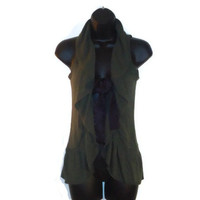 Olive Green Knit Ruffle Sweater Vest Brown Front Ties Womens Winter Clothing Size XS