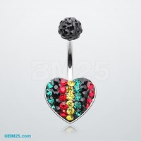 Rasta Jamaican Tiffany Inspired Heart Belly Button Ring