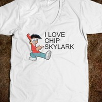 I Love Chip Skylark Unisex V-Neck Tee