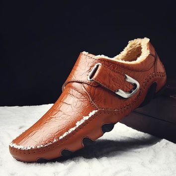 Men Plush Warm Men Shoes Winter High Quality Leather Shoes