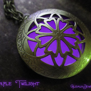 Purple Hour of Twilight Violet Glow Locket Antique Brass