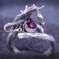 Silver Dragon Ring Dragons Breath Opal Ring Twig Ring
