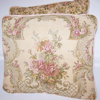 Victorian Embroidered Pillows, Pink Rose Design, Floral Bouquet, Bed Pillows, Chair Pillows, Satin Back, Pink Roses, Vintage Linens