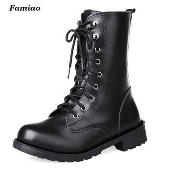 2016 New Arrival Combat Military Boots Women's Motorcycle Gothic Punk Combat Boots Fo