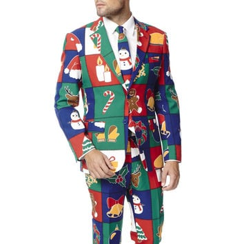 Pre-Order - Touch Me Twice Naughty or Nice Patchwork Ugly Christmas Sweater Dress Suit - Fall 2016 Delivery