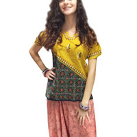 BOHO GYPSY HIPPIE YELLOW  BLOUSE TOP SHORT SLEEVE ETHNIC INDIAN TUNIC TOP SHIRT