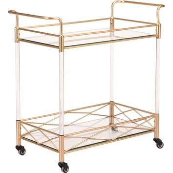 Gold Lucite Bar Cart