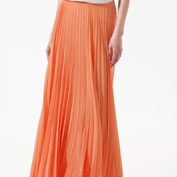 Orange Plain Pleated Ankle Straight Polyester Skirt