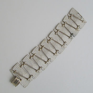Art Deco Style White Enameled Wide Link Bracelet Antique Jewelry