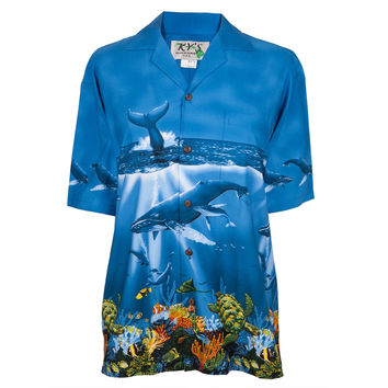 Whales Swimming in the Ocean Hawaiian Shirt