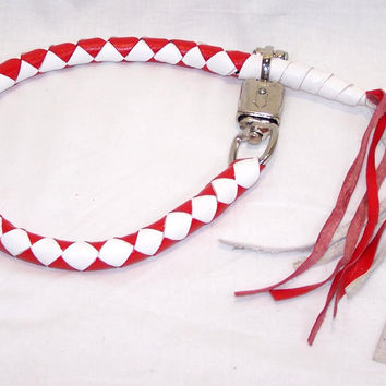 Motorcycle Get Back Whip Blue and Red with Hook to the Belt Loop and Lever RWW959