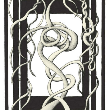 LOOPING MELANCHOLY:  limited edition fine art print 8x10, black and white abstract doodle art done in pen and ink pen drawing