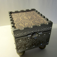 Jewelry Box - Upcycled Cigar Box Castle - Silver and Gold with Rhinestones