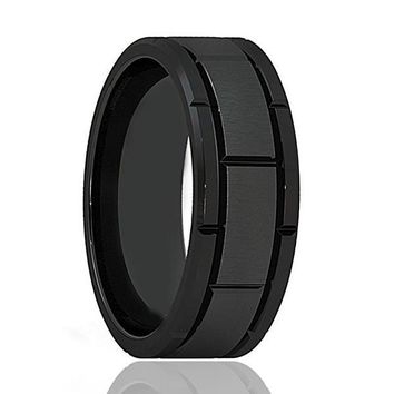 Men's Multiple Grooved Black Tungsten Carbide Ring With Brushed Center 8mm