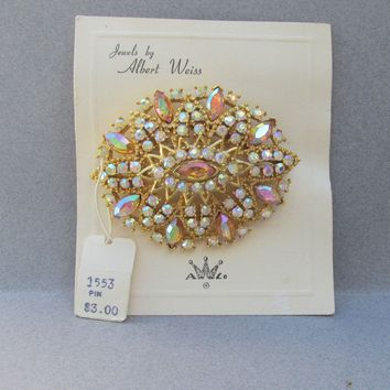 Magnificent Signed WEISS Auora Borealis Amber Rhinestone Pin, Vintage NEW Old Stock on Card with TAG!