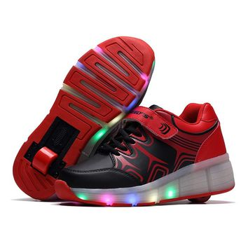 Teenagers Pulley Single Wheels Roller Skates LED Switch Rechargeable Adult Light Sneaker Shoes Glowing Skating Shoes