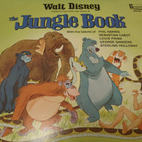 Jungle Book Story and Songs with Louis Prima, vinyl LP Record, Walt Disney, Disneyland. Children's Kids Record