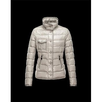 Moncler Armoise Detachable Fur Trimmed Light grey Jackets Lacquered Nylon Womens 41224