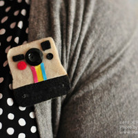 $16.00 Retro Polaroid Camera  Cute Handmade Felt Brooch by NerdJerk