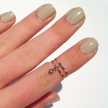 2 Above the Knuckle Rings - rose gold midi rings with a hamsa hand sign-  set of 2 stack midi rings