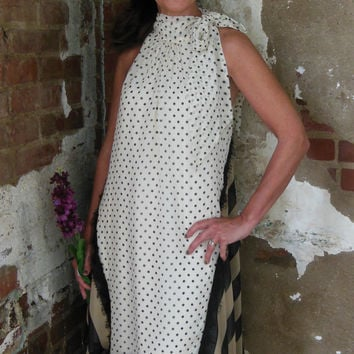 Ryu Cream/Black Polka Dot Print Halter Sheer Dress