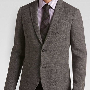 Alta Moda Gray Herringbone Slim Fit Sport Coat - Slim Fit (Extra Trim) | Men's Wearhouse