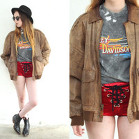 Vintage 70s FLIGHT LEATHER Bomber Brown Jacket Coat // Patina Worn In // Hipster Bohemian Grunge Biker // Small / Medium / Large