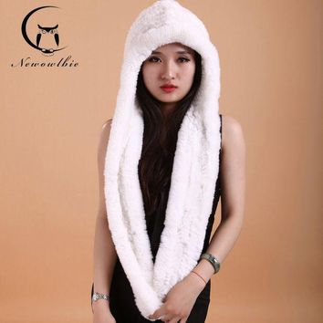 Women Winter Hat Scarf Rex Hat Knitting Wool Dense Thick White Hats Scarves Hats Fashion Women Cap Scarves To Keep Warm