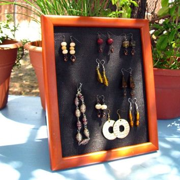 Jewelry Display Medium Brown Picture Frame Post Stud Earring Holder Wall Hanging Earring Display CELEBRATION SALE! Buy 1 Get 2 Free