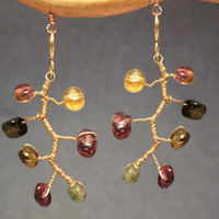 Branch earrings wrapped with tourmaline Guenevere 68