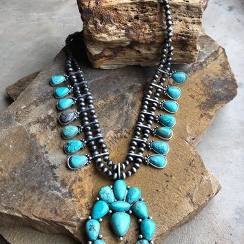 Full Squash Blossom Natural Turquoise Necklace with Accents